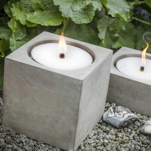 Flammschalen-Halter aus Beton, natur quadratisch, 21,5x21