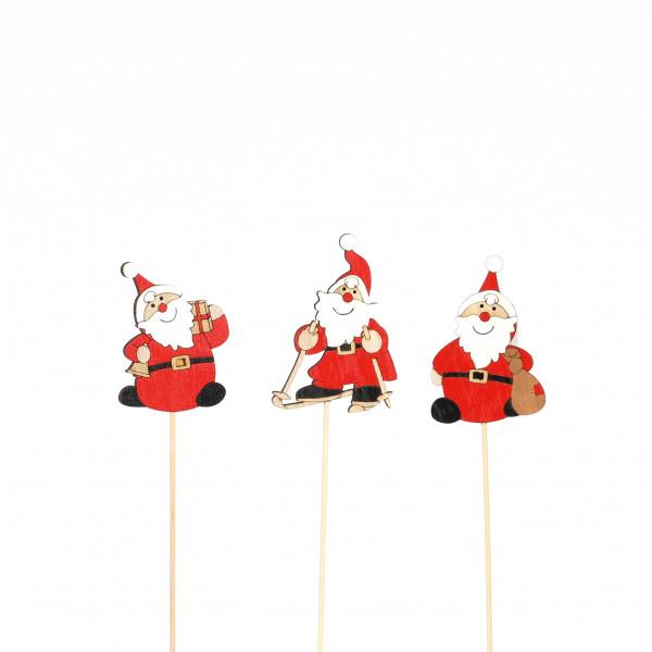 Holz-Stecker, Santa klassisch, rot/weiß 3 Mod sort, 8,5xL35cm
