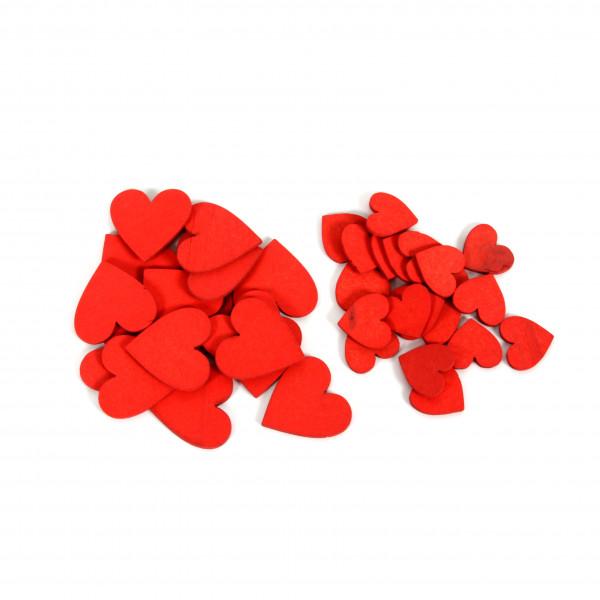 Streudeko Herz Holz,rot,Btl a 86 Stück, 2/3 cm