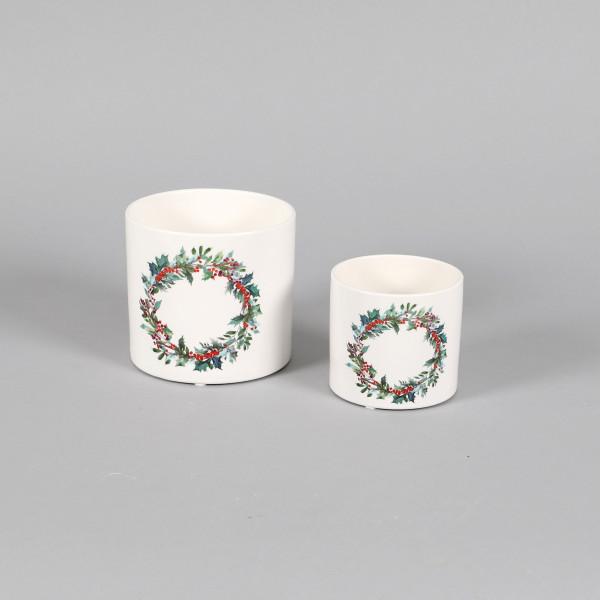 Keramik Zylindertopf mit Decal Ilexkranz weiß glasiert