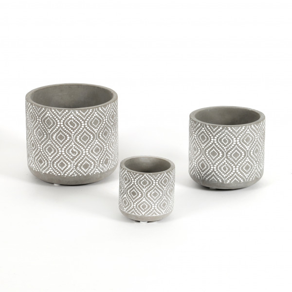 Zylinder-Topf, Zement mit Dekor