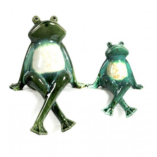 Keramik Kanten-Hocker Frosch Frederik grün/weiß glasiert