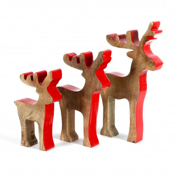 Hirsch Spesso Holz, natur-rot
