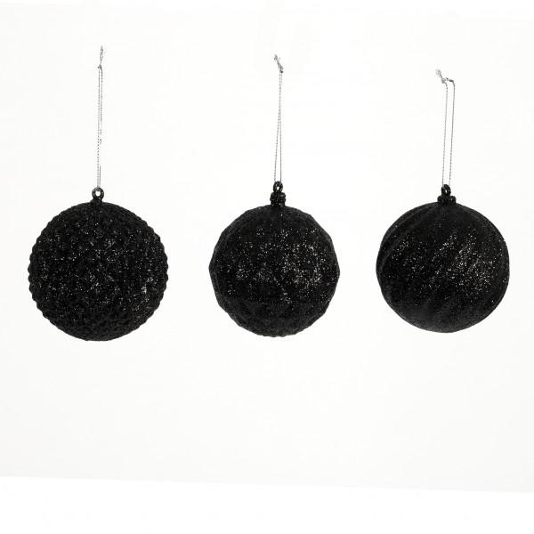 Baumkugel Dented Kunststoff, 3 Mod. 80 mm, schwarz