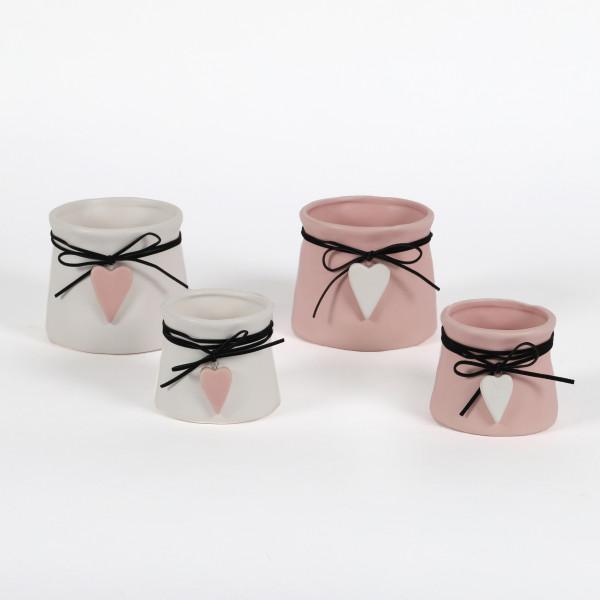 Keramik Topf Stella tailliert,mit Herz -Hänger, weiß-rosa sort
