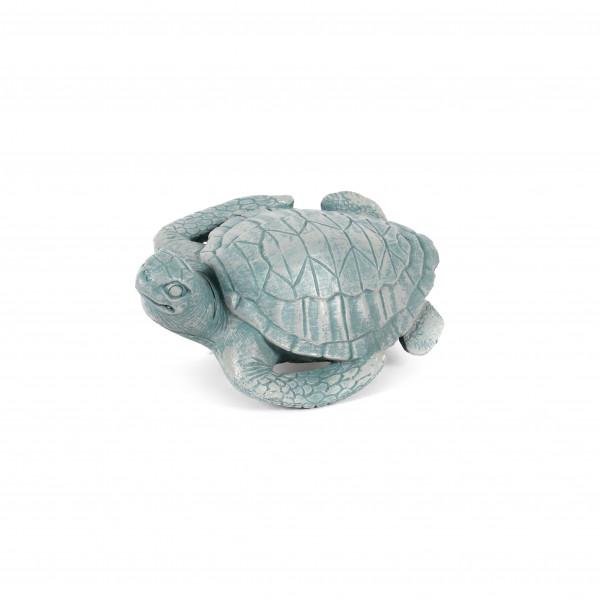 Schildkröte, Poly,blau grau, 16x11x6 cm