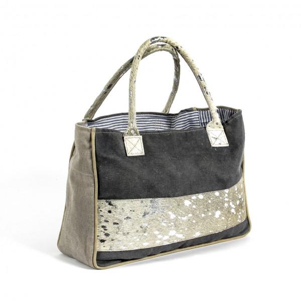 Handtasche Stripe Leinen mit K uhfellapplikation 34x10 cm