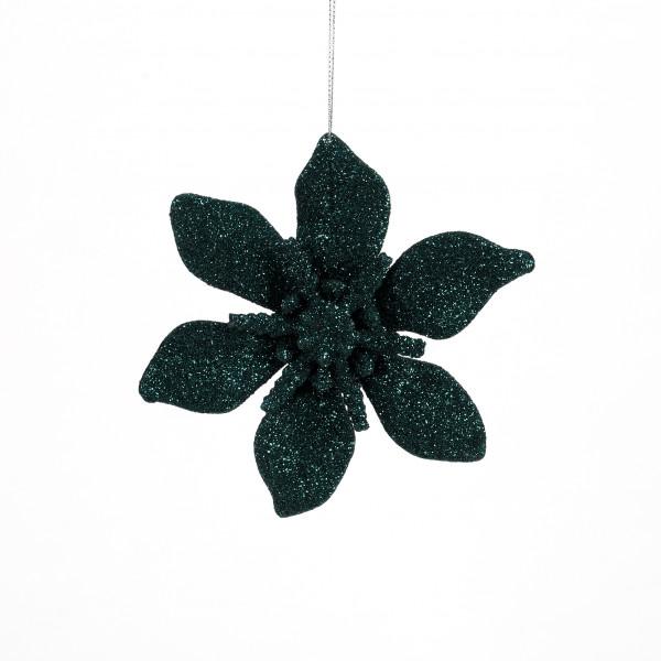 Ponsetie Glitter Kunststoff, 15 cm smaragdgrün