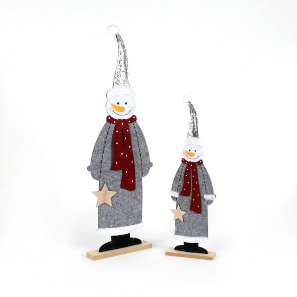 Filz-Schneemann Frosti, stehend auf Fuß