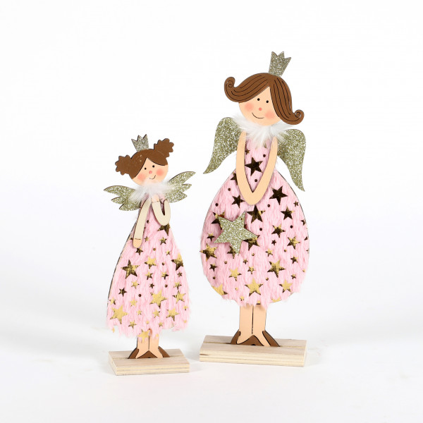 Engel Lulu Holz-Textil, rosa