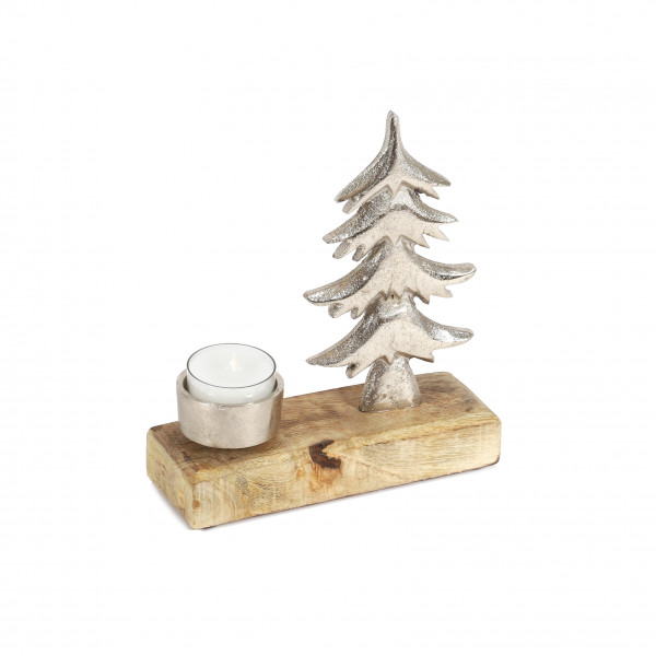 Teelichthalter Baum , Holz/Metall, 17x15x5cm, natur