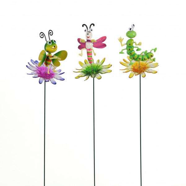 Gartenstecker Wackeltiere, auf transpar. Blüte,3 Mod.sort.,11x11x72cm,Kunststoff