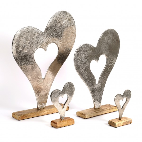 Standdeko Herz Aluguss-Holz