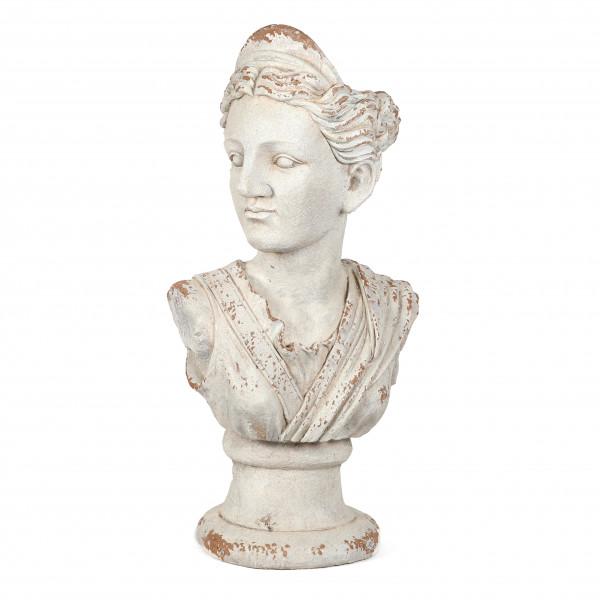 Magnesia Deko-Büste Helena als Pflanzkopf,weiß antik, 42x28x88 cm
