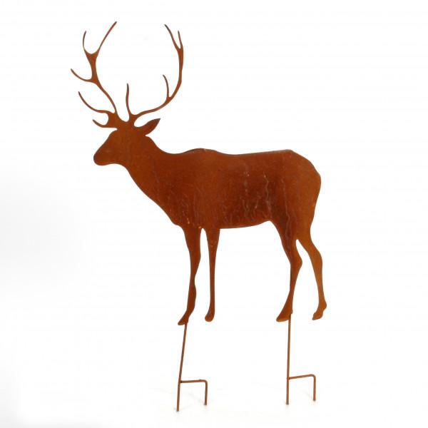 Gartenstecker Hirsch Metall,ro st, 58x53x73 cm