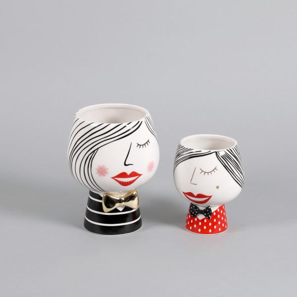 Keramik Pflanz-Kopf Sophia bauchig schwarz/weiß