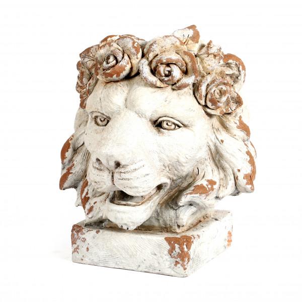 Magnesia Löwen-Pflanzkopf auf Sockel 36x40x43cm, weiß-antik
