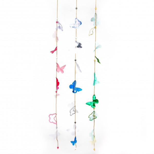 PVC Schmetterling Girlande m.P erlen, L110cm