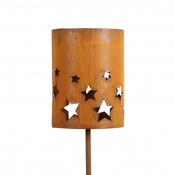 Sternen Windlicht auf Stab rost 18x18x 121 cm
