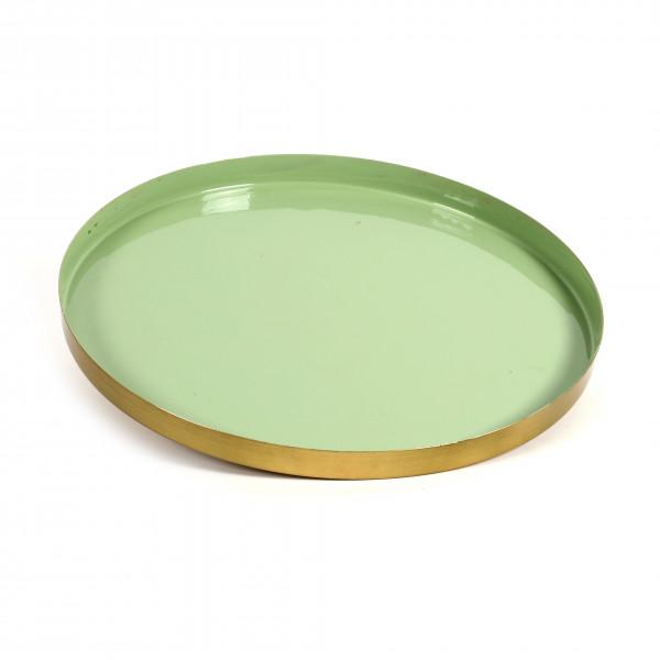Teller Roskilde Metall, green-gold 36x3 cm
