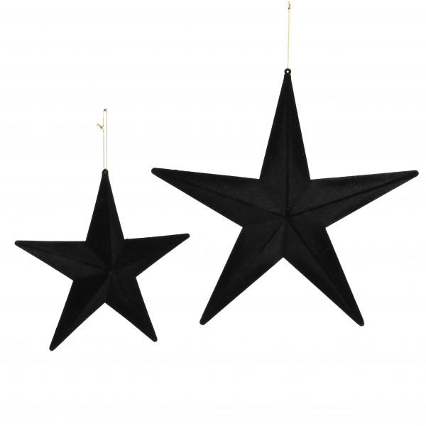 Stern zum hängen, beflockt, schwarz