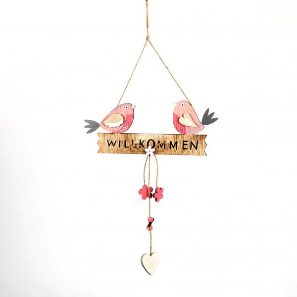 Deko-Schild Willkommen Holz, natur z.hängen, 25x12 cm
