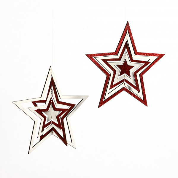 Stern Mobile Holz, zum Hängen, weiss-rot, 17,5 cm