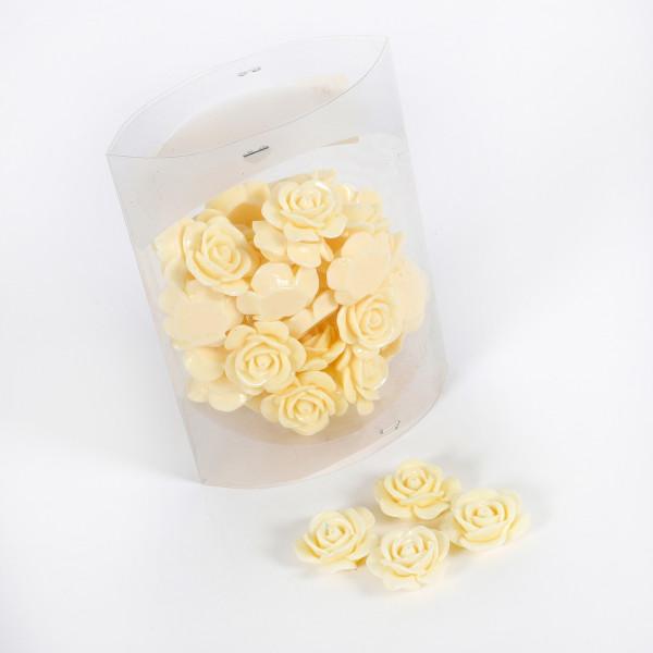 Acrylrose Pure Love D3cm, 40 Stk/Box, creme