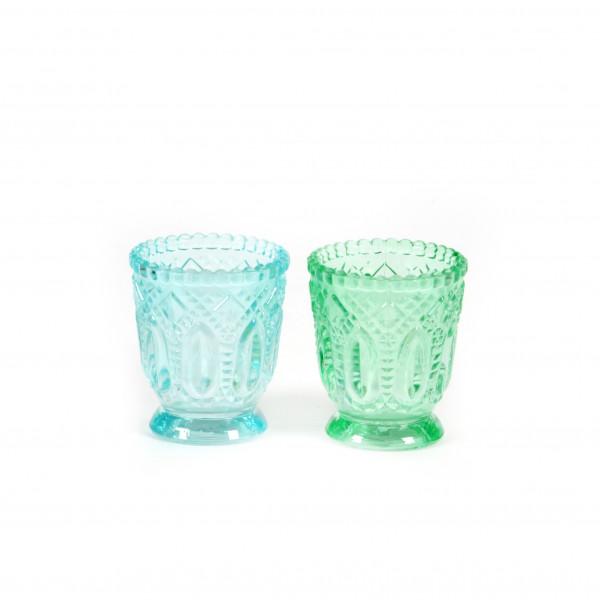 Teelicht Ornament D 7 cm x H 8 cm mint/hellblau klein