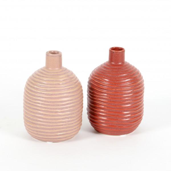 Keramik Vase bauchig,mit Rillen,rosa- mauve matt sortiert, 9xh13 cm