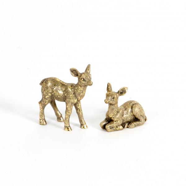 Poly-Bambi,stehend/liegend sor t.,h.4,5+7cm,gold glitter