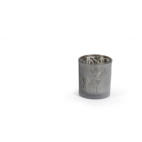 Teelicht 7x8 cm Hirschmotiv verspiegelt anthrazit