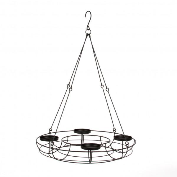 Adventskranz z.hängen, Metall, 43x7,5x61 cm,schwarz