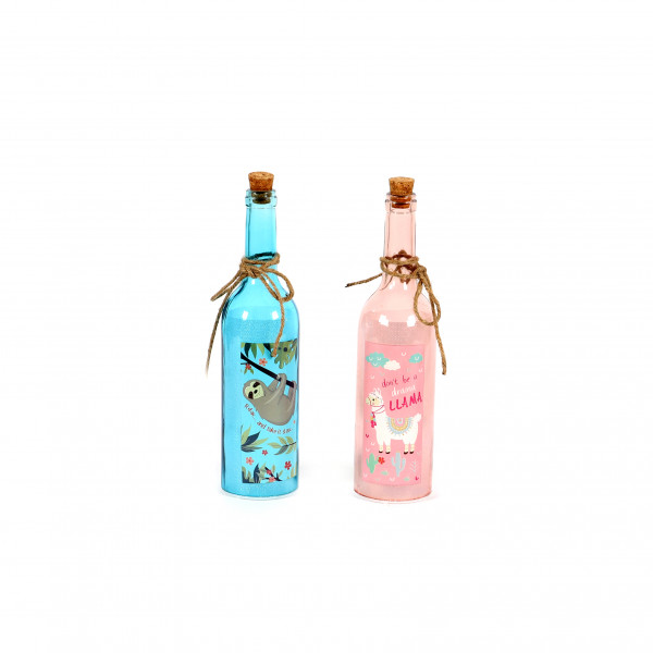 LED Flasche Lama Drama groß 7x30 cm mit Glitzerfolie 2 fach sortiert