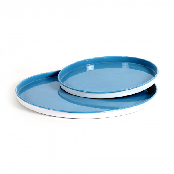 Teller Limoges Metall,Emaillelack, blau