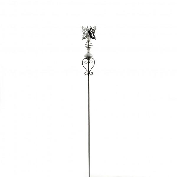 Gartenstecker Butterfly on heart , grau Metall, 25x8x100 cm