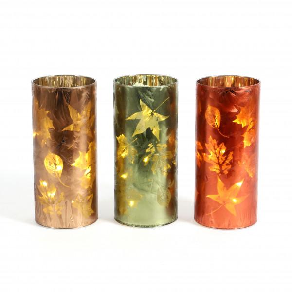 Glas mit LED 3 fach sort mit Timer 6/18 Herbstlaub 9 x 20 cm gelb, orange, grün