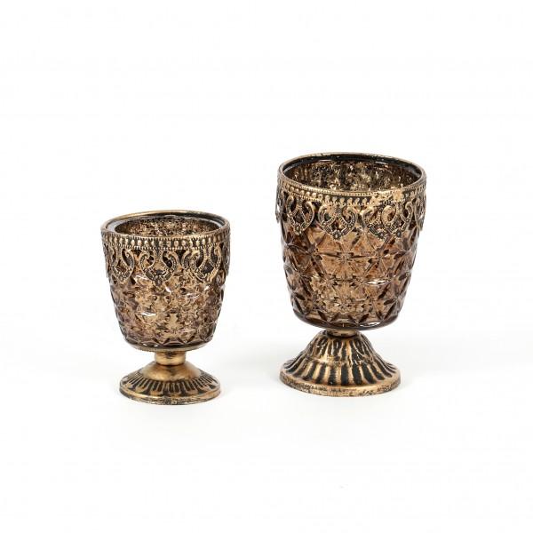 Pokal Elis Glas, konisch, mit Metallbeschlag