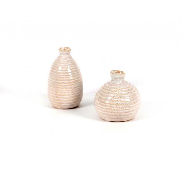 Keramik-Mini-Vasen 2 Mod.sort. 7.5x12.5 / 9,5x10cm, weiß-antik glasiert