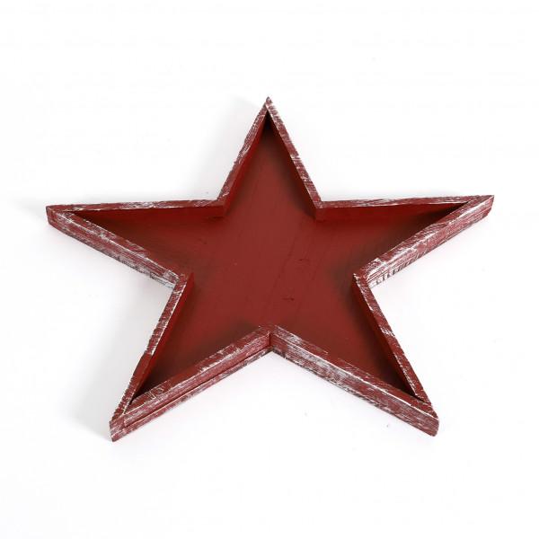 Sterntray, Holz, red-schwarz gewischt 50x3 cm