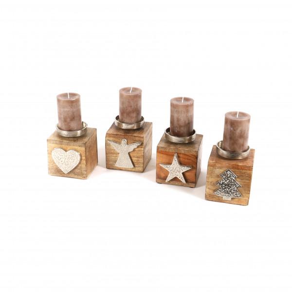Kerzenhalter, 4 Motive, Holz/Metall 10x10x13cm, natur