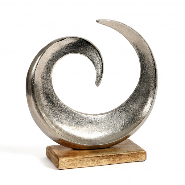 Standdeko Wave Aluminium-Holz, 32x31x10 cm