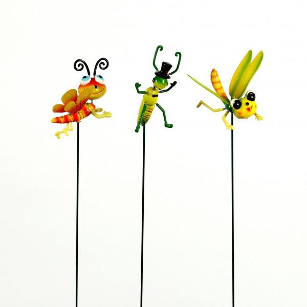 Gartenstecker Wackeltiere 3 Modelle sortiert, 11x9x68cm, Kunststoff