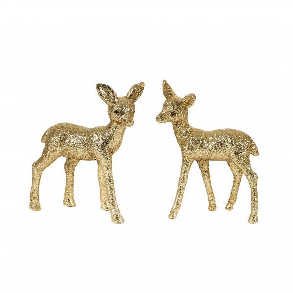 Deko Reh, Kunststoff beglimmert gold, 12,5 cm 2 Modelle