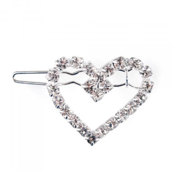 Metall-Haarspange Herz m.Clip, L2,5cm,B3,5cm silber