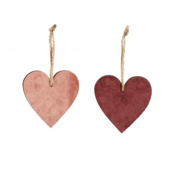 Herz Velvet Holz-Samt, 10 cm 2 fb sort. bord-pink