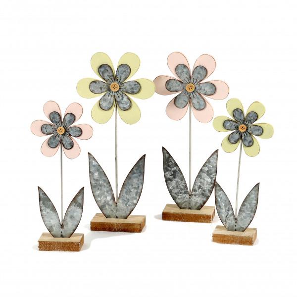 Standdeko Blume Holz-Zink