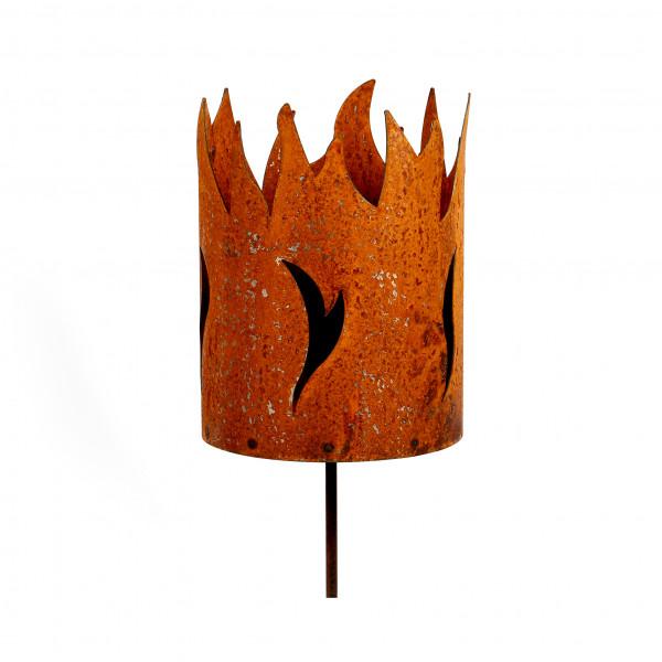 Windlicht Feuertopf auf Stab D 18 cm H 150 cm für Flammschale rost