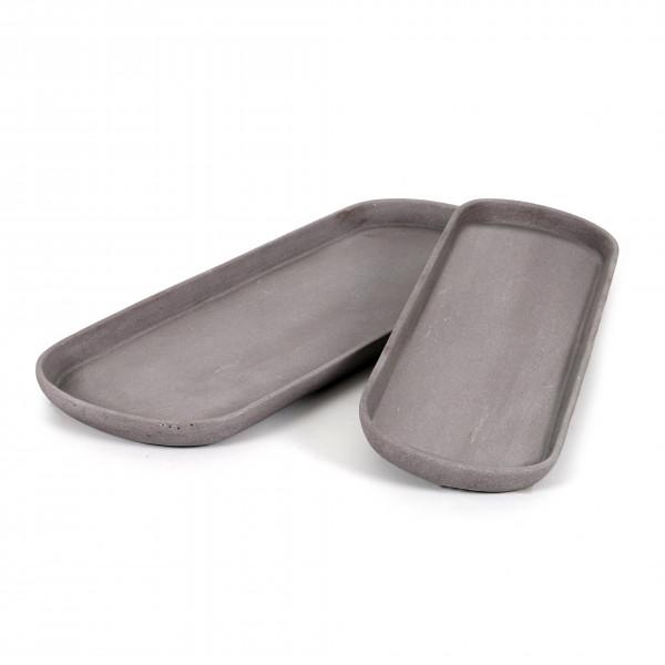Polyresin Untersetzer oval dunkel-grau