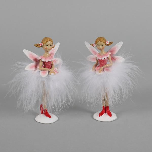 Poly-Elfen, 2Modelle sortiert,mit Plüsch Kleid, rosa-weiß, 7x4xh14 cm